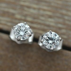 1.2ct Round Prong Sterling Silver Stud Earrings
